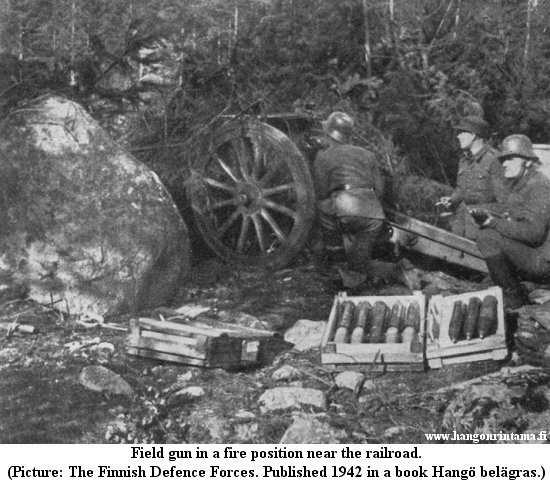 Field gun in a fire position near the railroad