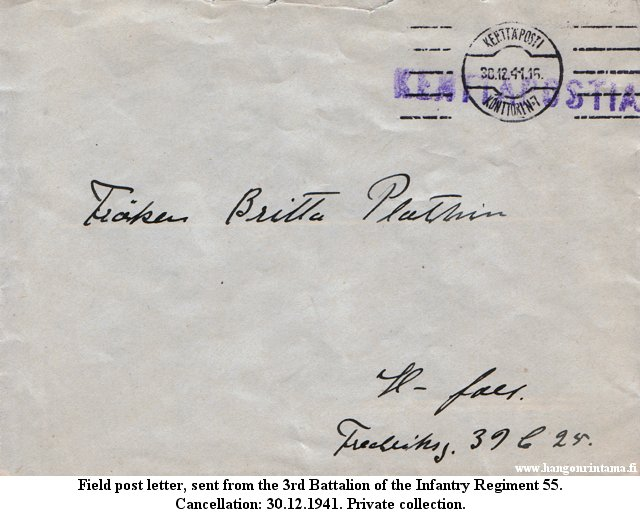 Field post letter, sent from the 3rd Battalion of the 55th Infantry Regiment